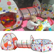 3Pcs/Set Foldable Pool-Tube-Teepee Baby Play Tent House Infant Kids Crawling Pipeline Tunnel Game Play Tent Ocean Ball Pool(China)