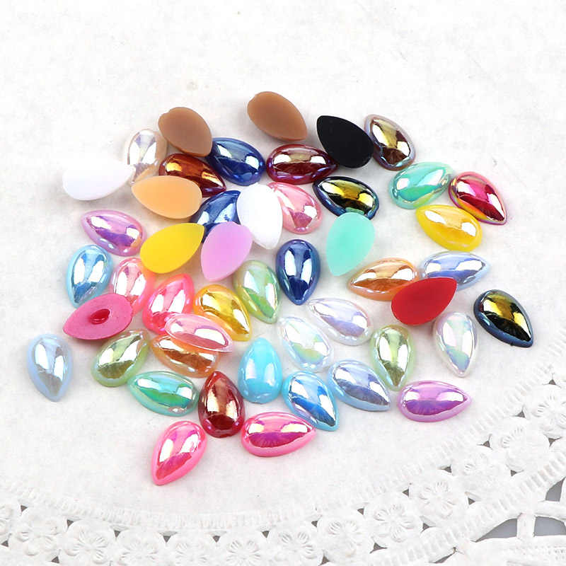 100 Pcs 6*10mm ABS Imitation Water Drop Flatback Pearl Beads Decoration For DIY Accessories Jewelry Making Nail Art Phone Case