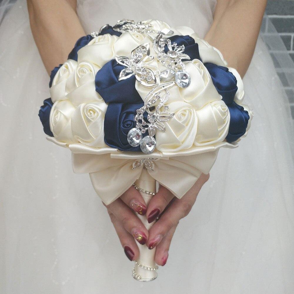 Handmade Diameter 18CM Wedding Bouquet Bridal Bridesmaid Bouquets Navy Blue Ivory Satin Rose Flower Bride Hand