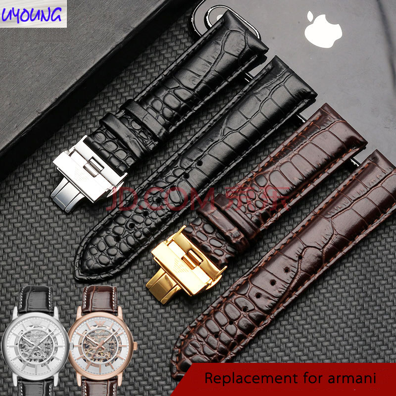 Fit For Ar-ma-ni Leather Strap Male AR2411 2433 2447 Original Style Butterfly Buckle Accessories Leather Watch Chain 20 22mm