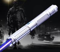 실버 블랙 450nm 500000 m 가변 초점 높은 전원 블루 레이저 포인터 focusable lazer 펜 충전기 5 스타 캡 상자