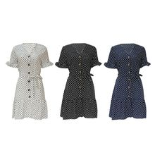 Womens Plus Size Chiffon Mini A-Line Swing Dress Belted High Waist Vintage Polka Dot Ruffles Short Sleeve Button Down V-Neck Bea недорого