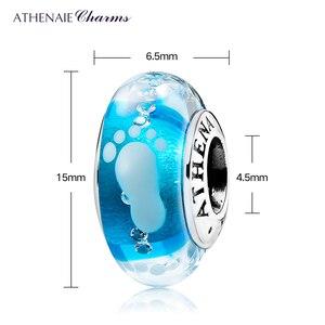 Image 4 - Athenaie novo 925 prata esterlina bebê pegada murano contas de vidro azul encantos caber encantos pulseiras & colares jóias fazendo