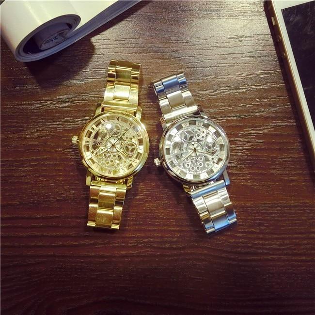 New Luxury Brand  Fashion style Stainless Steel Men Watch Women Dress watch Quartz Hollow Relojes hombre 2017