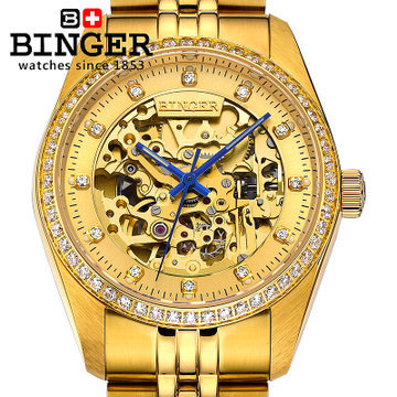 Binger new mens CZ diamond 18k golden watch famous brand automatic mechanical watches fashion designer dress luxury wristwatches
