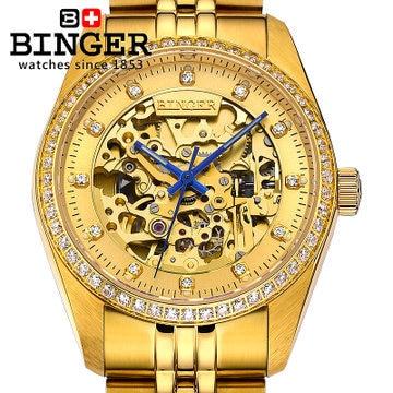Binger new mens CZ diamond 18k golden watch famous brand automatic mechanical watches fashion designer dress luxury wristwatches binger new luxury brand white ceramic fashion quartz watch women cz diamond dress watches ladies girls date casual wristwatches