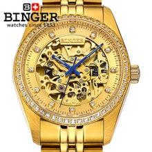 Бингер новый мужская диаманта CZ 18 К золотые часы известный бренд автоматические механические часы модельер платье роскошных наручных часов