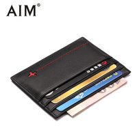 AIM Genuine Leather Men S Small Wallet Card Case Credit Card Holder Organizer Male Mini Purse