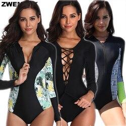 2019 Protetor Solar de Manga Longa Das Mulheres Um Pedaço Maiôs Zip/Lace-up Design Bodysuit Fêmea Esportes Ao Ar Livre Surf Beachwear biquini