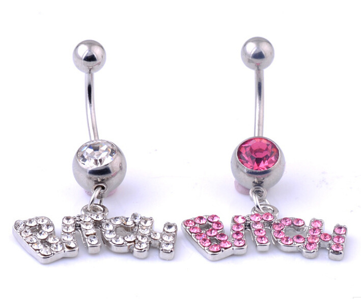 1PCS letter Charming Body Piercings Jewelry Crystal Rhinestone Inlaid Navel Belly Button Ring Body Piercing Surgical Ombligo