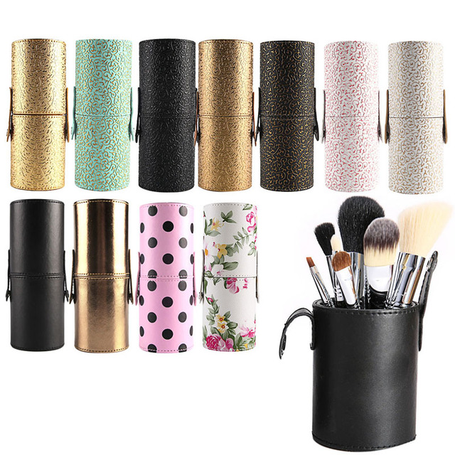 HUAMIANLI 1PC Leather Cosmetic Cup Case Makeup Brush Pen Holder Empty  Storage Box Organizer