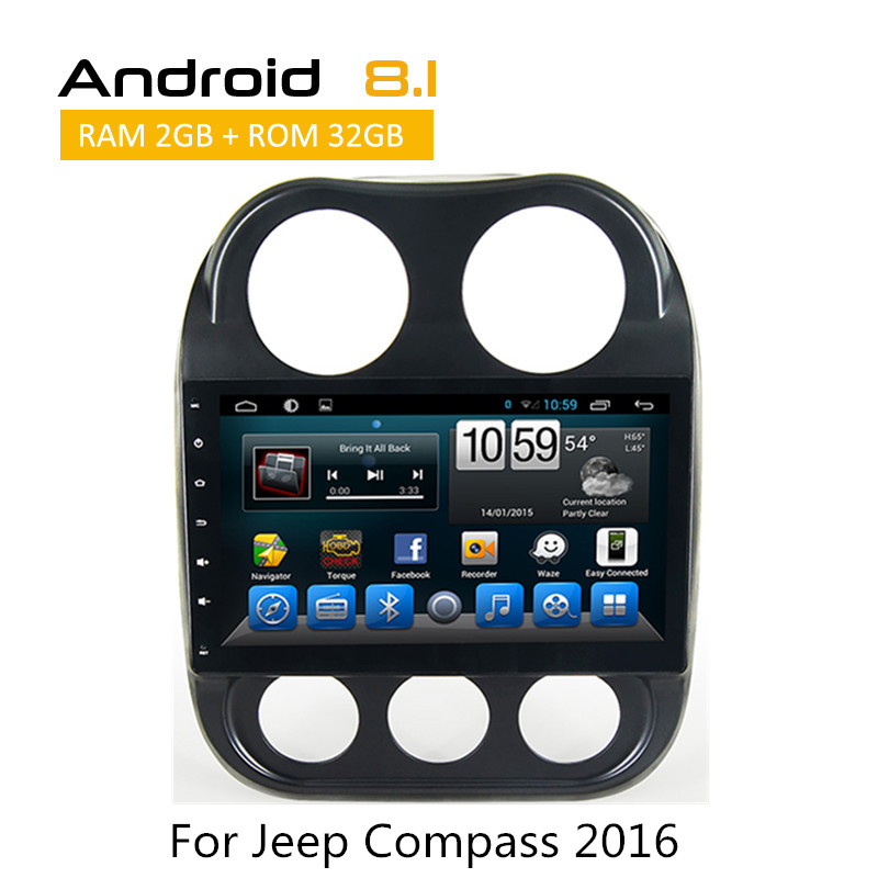 "Android 8.1 Car DVD GPS 10.1"" 2.5D IPS Screen For JEEP COMPASS 2010 2011 -2015 2016 audio car radio stereo TPMS CarPlay AUX WIFI"