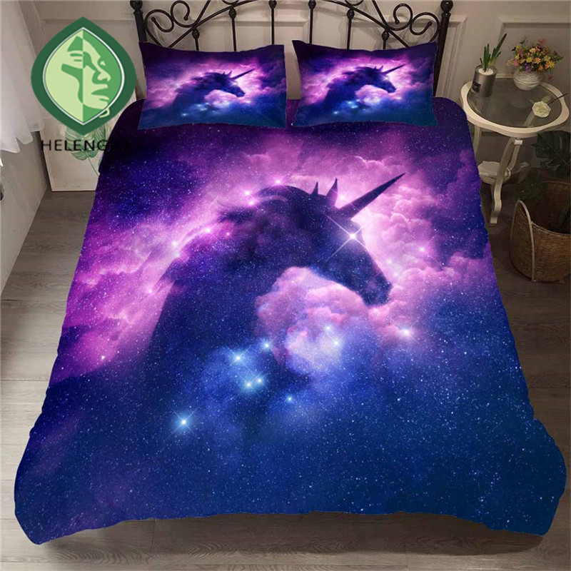 HELENGILI 3D Bedding Set Unicorn Print Duvet Cover Set Lifelike Bedclothes with Pillowcase Bed Set Home Textiles #DJS-86HELENGILI 3D Bedding Set Unicorn Print Duvet Cover Set Lifelike Bedclothes with Pillowcase Bed Set Home Textiles #DJS-86