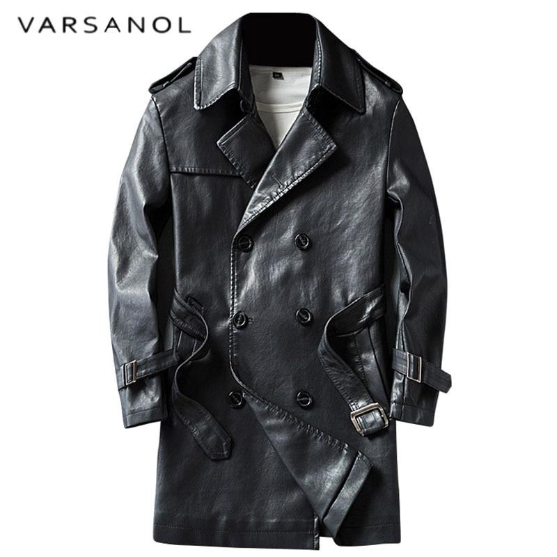 Varsanol Smart Casual Pu Leather Trench Long Length Men's Fur Coat Full Sleeve Turn-down Collar Adjustable Waist Winter Outwears