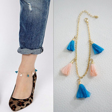 New Fashion accessories summer Colored tassels anklet  for women girl wholesale AN51