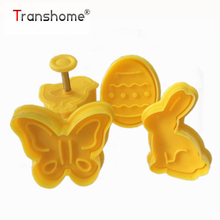 Transhome 4Pcs Easter Bunny Pattern Plastic Baking Mold Biscuit Cookie Cutter Pastry Fondant Cake Decorating Tool Kitchen Tools