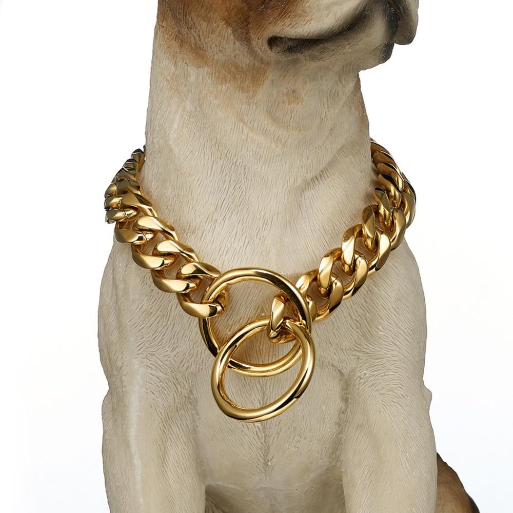 15/19mm Edelstahl Silber/gold/silber-gold/schwarz Slip Hund Kragen Training Choke Kette Kragen Für Große Hunde Pitbull Bulldog QualitäT Zuerst