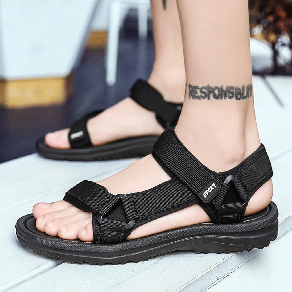 Sandals Men shoes Summer Outdoor Men Flats Casual  Summer Beach Athletic Shoes Breathable Sport Sandals hole shoes Flip Flops(China)