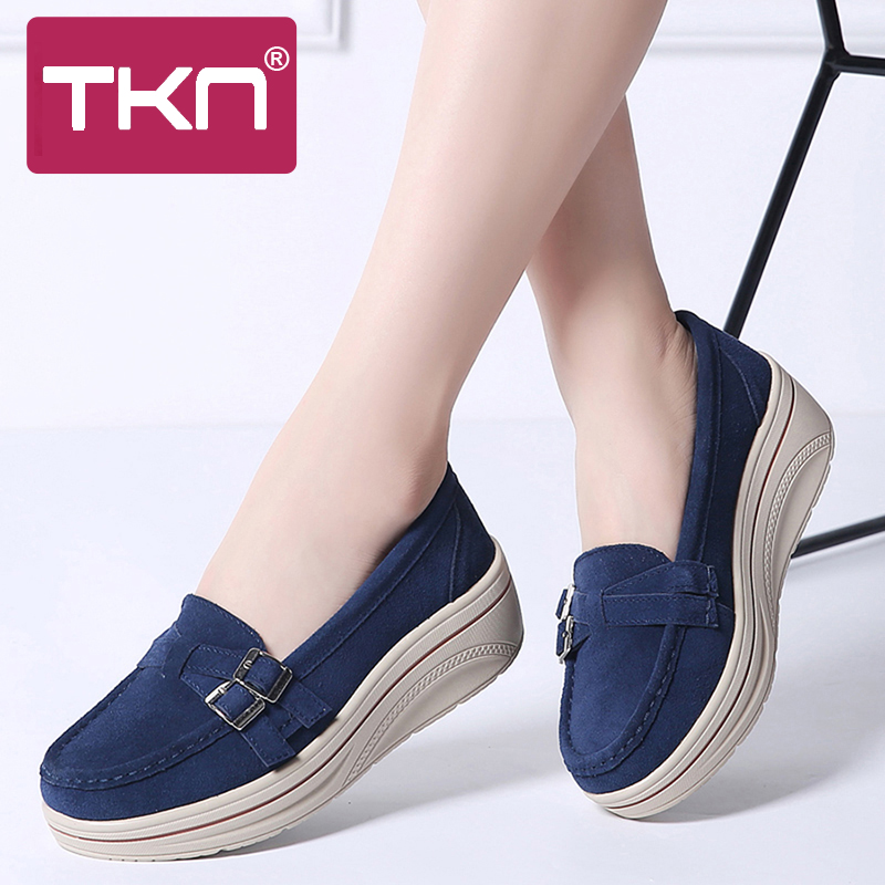 2019 women spring flats shoes platform sneakers   leather     suede   slip on shoes heel creepers chaussure femme moccasins woman 3039