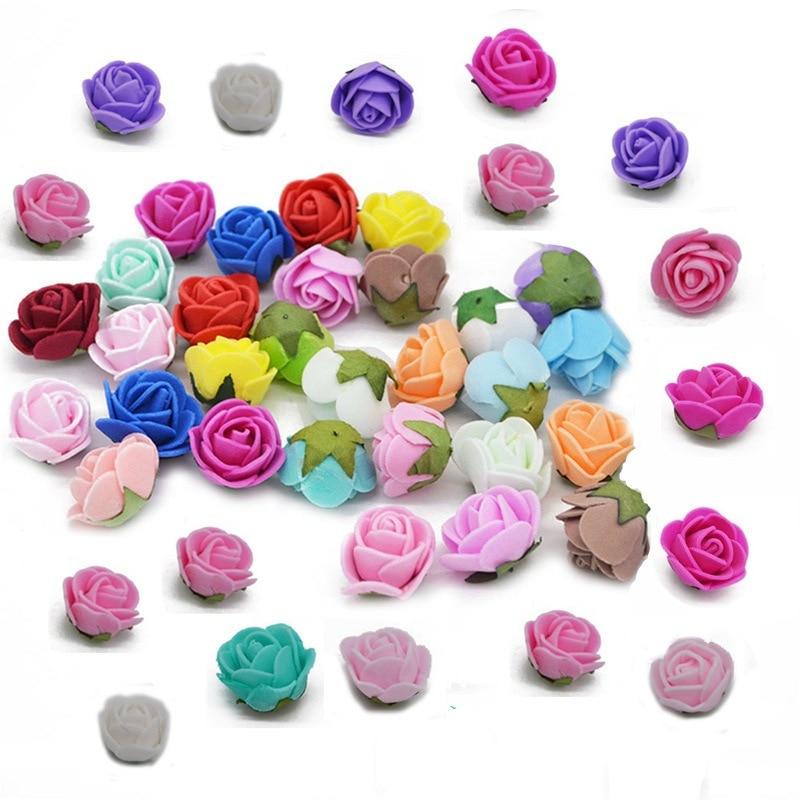 50 шт./лот 2 см пенополиэтилен роза искусственный цветок голову цветочный венок Свадебная вечеринка Decotation Скрапбукинг Craft поддельные цветок принадлежности