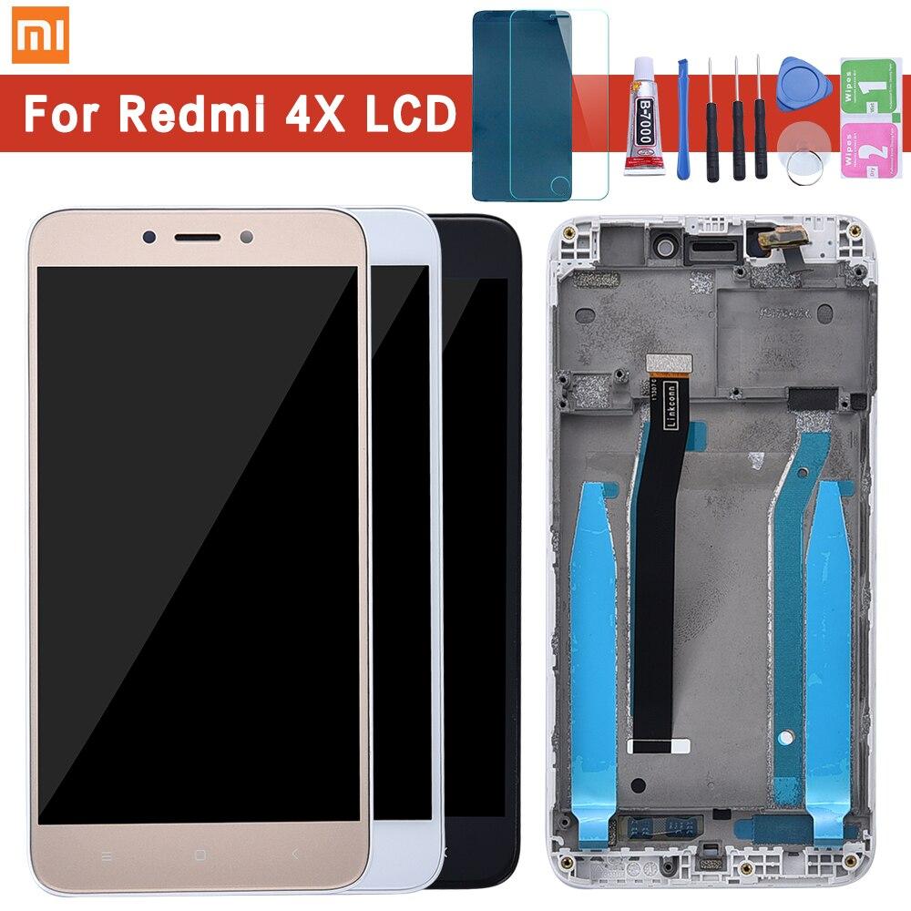 Para Xiaomi Redmi 4X pantalla LCD con Panel táctil de pantalla de Marco Redmi 4X LCD pantalla digitalizador montaje de Marco piezas de repuesto de reparación