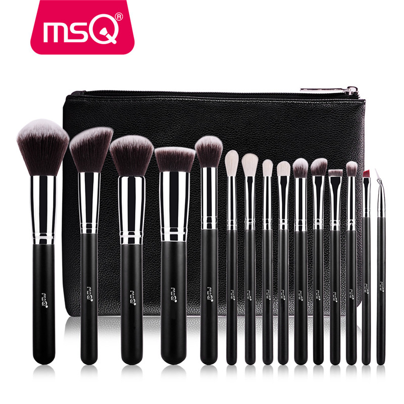 MSQ Pro 15 stucke Make-Up Pinsel Set Powder Foundation Augenschminke Bilden Bursten Kosmetik Weiche Synthetische Haar Mit Pu-led mac splash and last pro longwear powder устойчивая компактная пудра dark tan