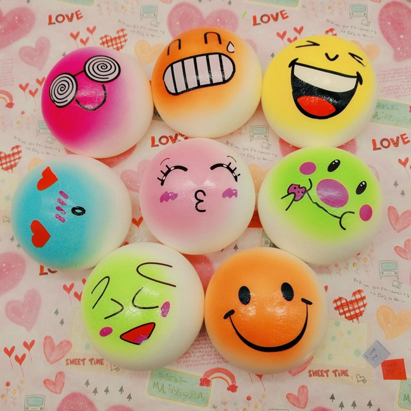 Squishy Cartoon PU Steamed Bread Steamed Stuffed Toys - Expression Color Random