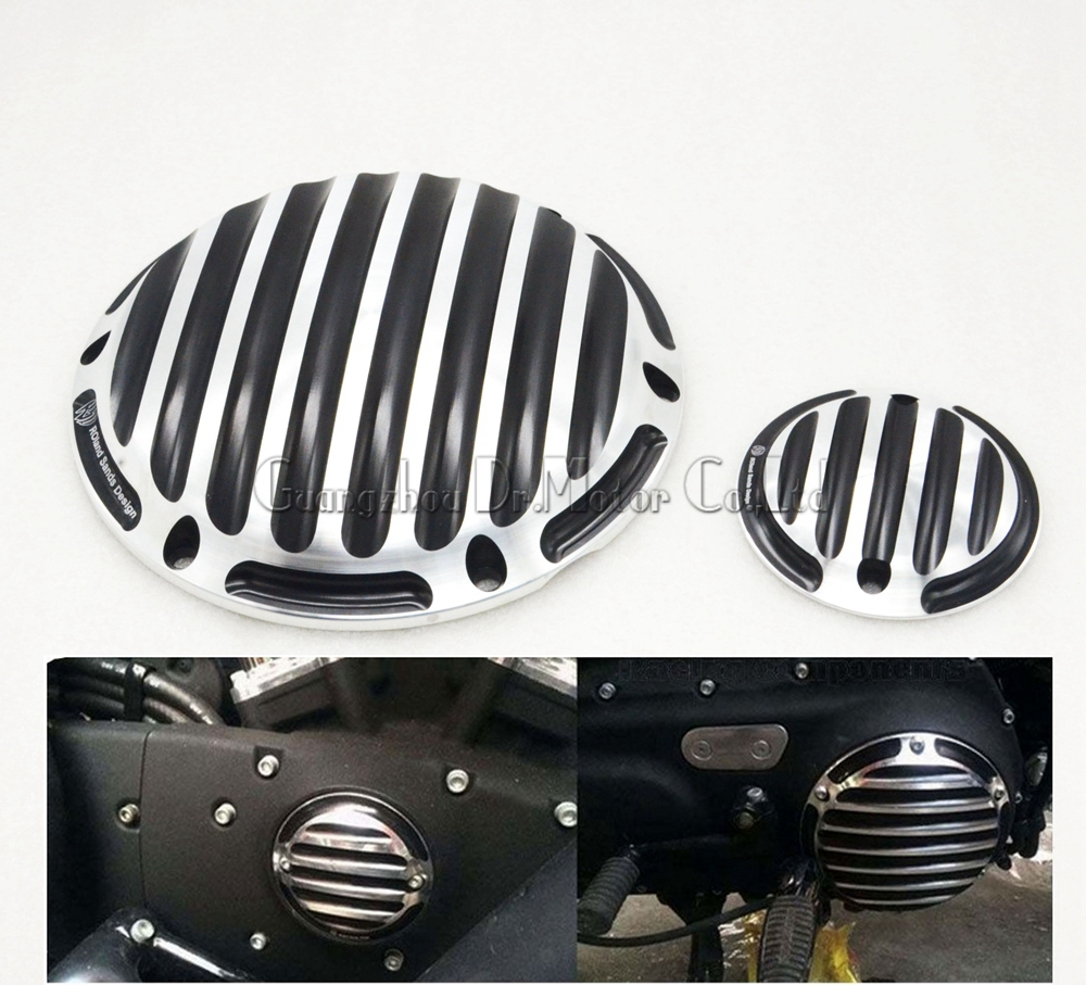ФОТО New CNC Designe motorcycle black with chrome engine cover Derby&Timing Timer Cover for Harley Sportster XL 1200 883