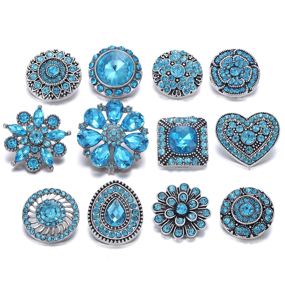 Light Blue Rhinestone Snap on Flower Pendant