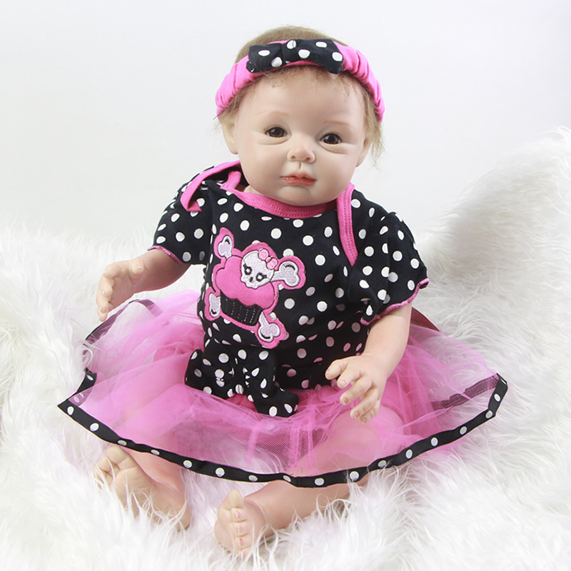 Realistic Silicone Baby Girl Reborn Toy 22 Inch Real Touch Vinyl Babies Newborn Dolls Lifelike Doll