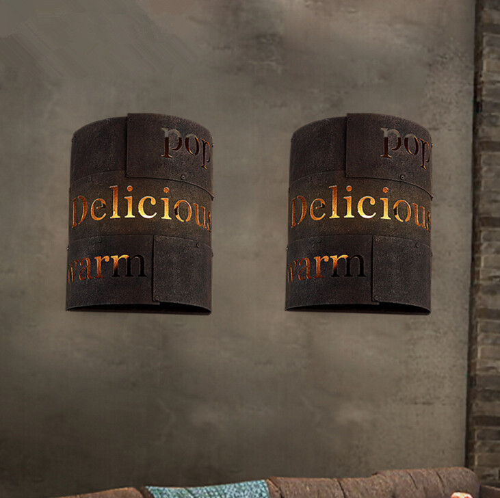 New Sale Wall Light Wandlamp Quadri Moderni Loft Retro Lamp American Restaurant Aisle Hollow Bar Iron LED Lights Free Shipping
