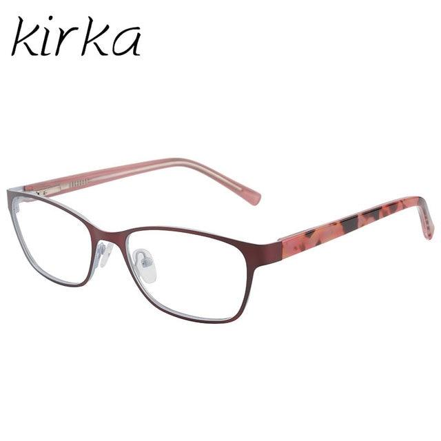 Kirka Stainless Steel Eyeglasses Frame Orange Color Retro Myopia ...