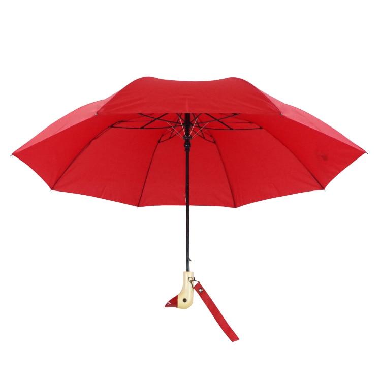 Duck head with wooden handle umbrella Personality black plastic yang cover duck head umbrella 2 fold sunscreen umbrella in Umbrellas from Home Garden