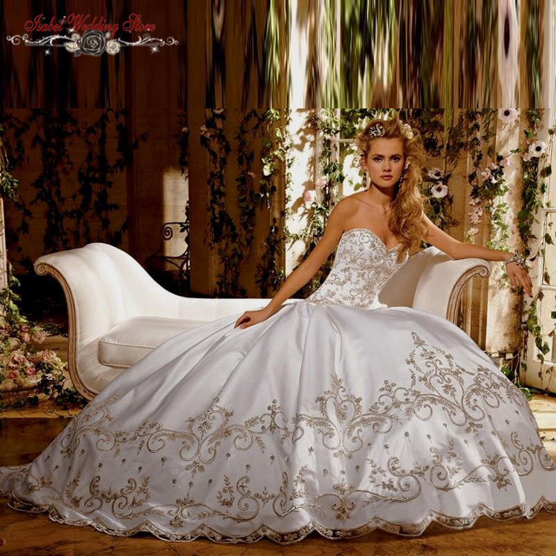 Most Beautiful Ball Gown Wedding Dresses: Elegant Luxury Ball Gown Ivory Embroidery Princess Wedding