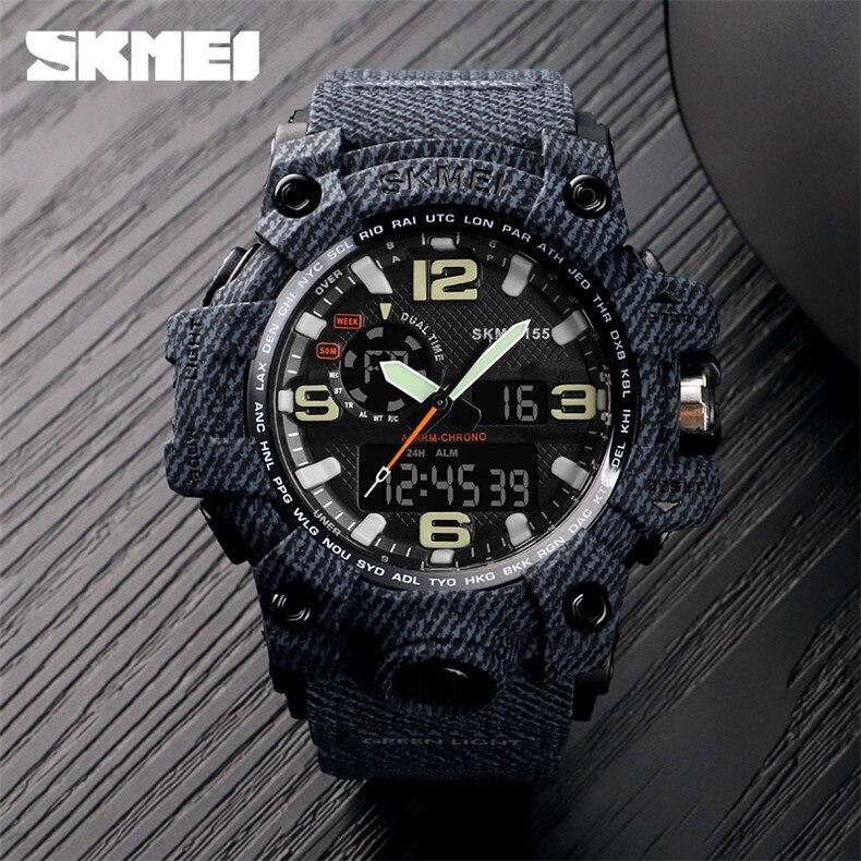 c820a4f3528 Novos homens Relógio de Luxo Da Marca SKMEI Moda Casual Esportes Ao Ar  Livre Relógios Digitais À Prova D  Água Relógio de Quartzo Homens Relogio  ...