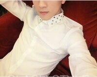 2014 New Harajuku Men S Fashion Casual Slim Rivet Long Sleeve Black White Shirt Men S