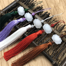 10 pcs Mini Chinese Knots Pendants White jade lotus tassel small New Year Characteristics Gift craft tassels hang drop