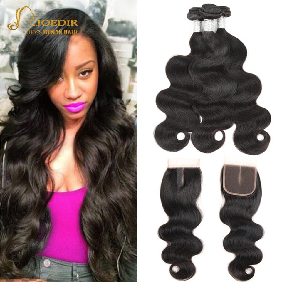 Joedir Pre-colored Human Hair Weave Bundles With Closure Peruvian Body Wave 3 Bundles Non Remy Hair Bundles With Closure