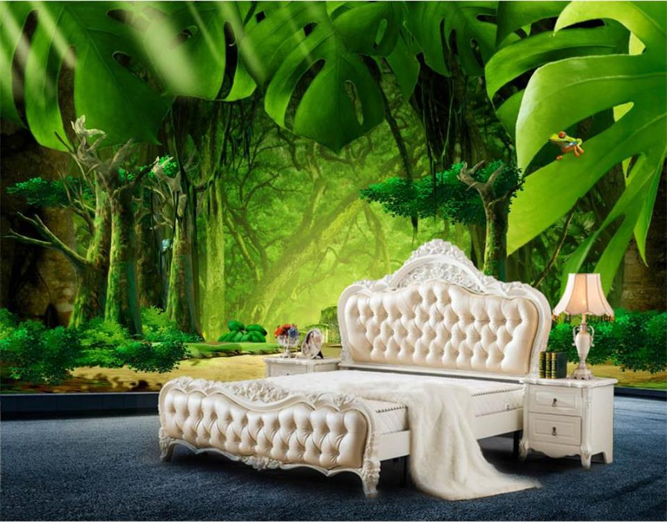 Custom 3D Photo Wallpaper Bed Room Murals Jungle Banana Leaves Background Painting Eco-Friendly Non-Woven Wallpaper For Wall 3D shinehome black white cartoon car frames photo wallpaper 3d for kids room roll livingroom background murals rolls wall paper