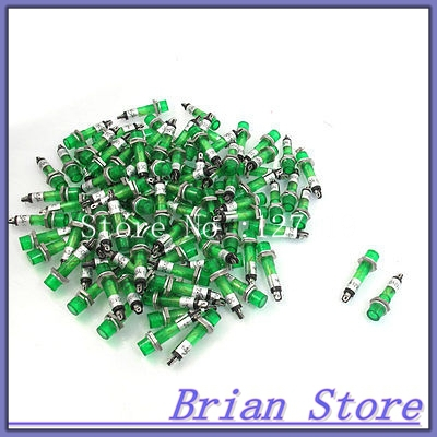 100 x DC 12V 7mm Green Power Illuminated Signal Indicator Light Pilot Lamp XD7-1 ...