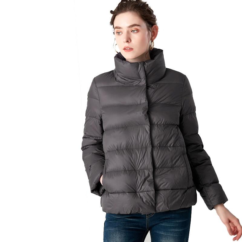 New Winter Women Ultra Light Down Jacket Stand Collar Coat Brand Jackets Weightless Parkas Bread Collar Jacket Warmness XXL