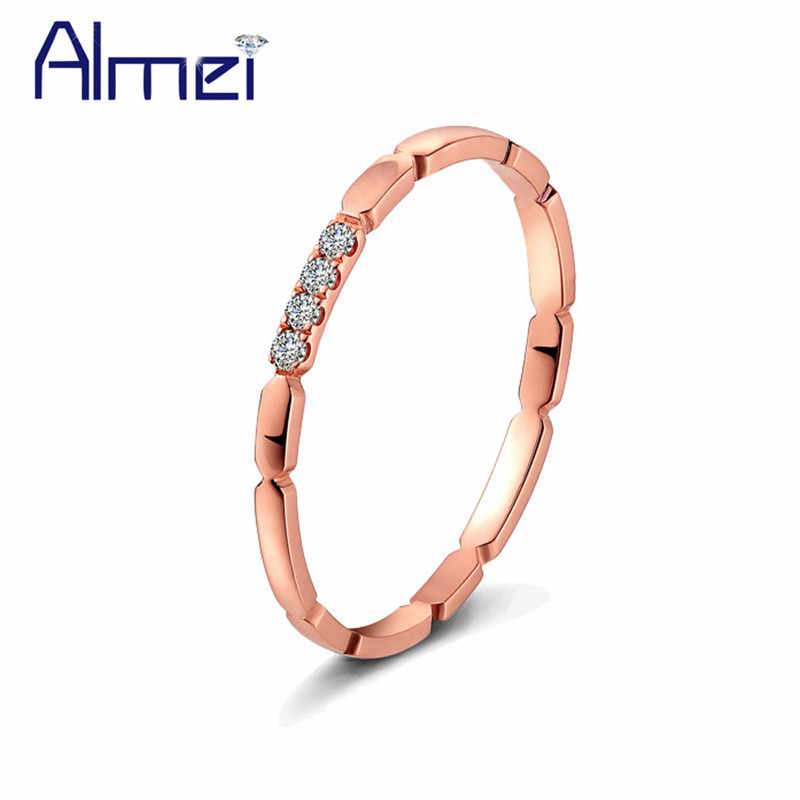 Almei 5%Off Wedding Thin Rings For Women Ladies Rose Gold Color Ring Set With Zircon Stone Womens Simple Engagement Jewelry TR11