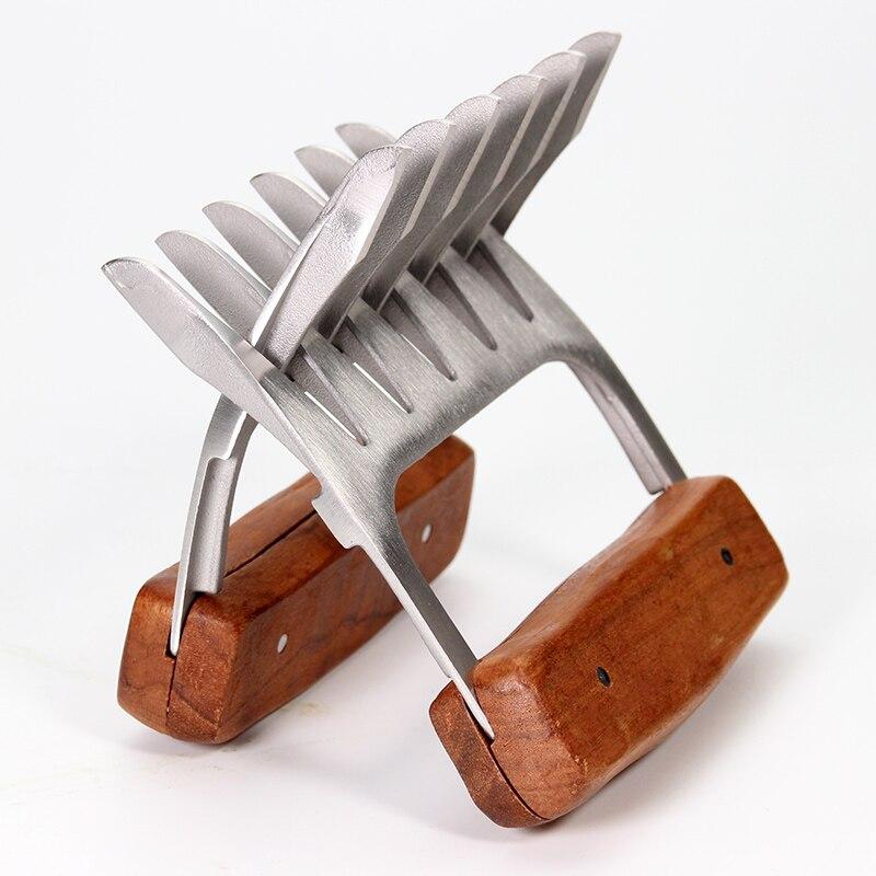 18/8 Edelstahl Fleisch Krallen, Metall Fleisch Gabeln mit Holzgriff, für Schreddern Ziehen Gabe Huhn Bruststück (2 stücke)