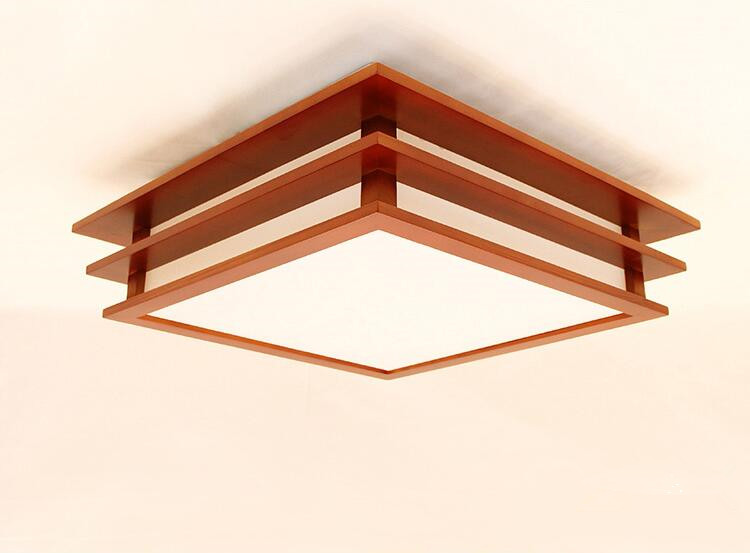 Minimalist Modern Ceiling Light Lamp Square Bedroom Living Room Tatami Japanese Lamps Wood Mahogany Finish