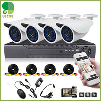 Home Surveillance Security Camera System With DVR 8 Channel 4pcs1200TVLHD IR Cut Weatherproof Bullet Cameras 500GB