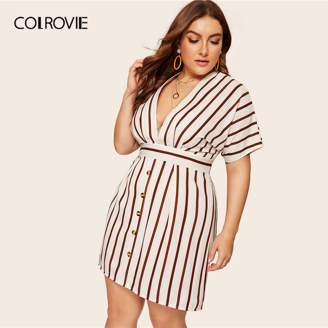 COLROVIE Plus Size Beige Deep V-Neck Striped Dress Women 2019 Summer Boho Short Sleeve A Line Office Ladies Fit And Flare Dress 3