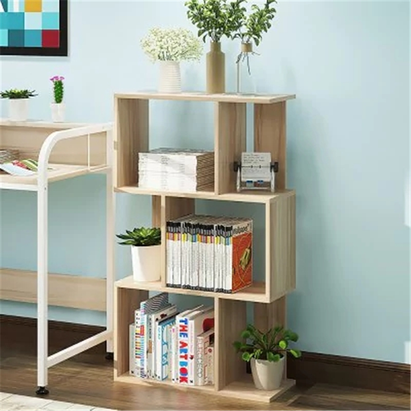 Simple Storage Rack Display Shelf Bookcase Home Decor /Hanger Creative Furnishing Articles Decoration -  4-TIER  LIGHT BROWN children s bookcase shelf bookcase cartoon toys household plastic toy storage rack storage rack simple combination racks
