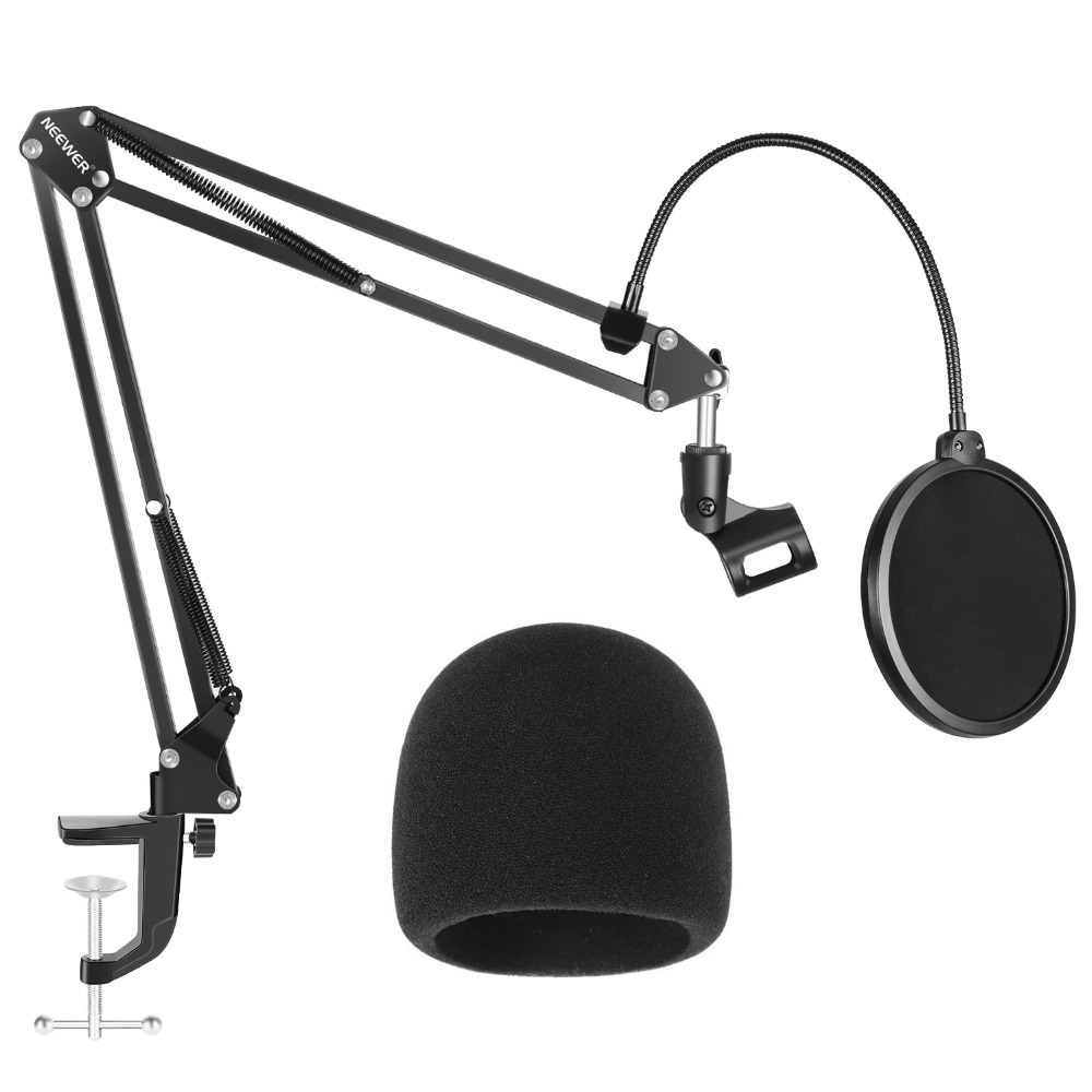 Neewer NW-35 Microphone Stand With Microphone Windscreen Foam/Dual-layered Mic Pop Filter-Suspension Boom Scissor Arm Stand Kit