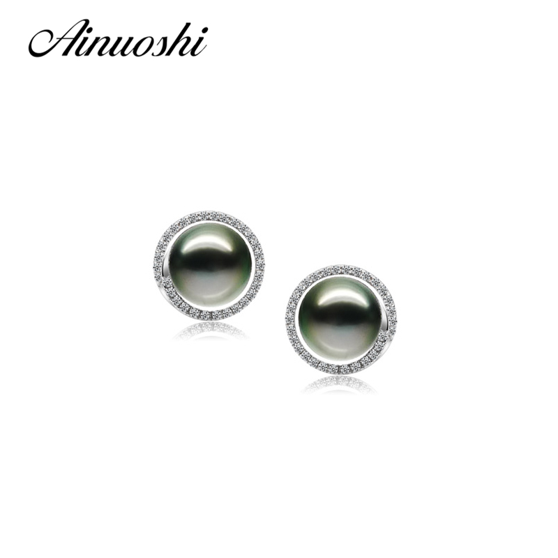 AINUOSHI 925 Sterling Silver Round Shaped Studs Earrings Natural South Sea Black Tahiti Pearl 9-9.5mm Round Pearl Studs Earrings ainuoshi 925 sterling silver leaves shaped pearl earrings 9 5 10mm natural tahitian black pearl round pearl lover stud earrings