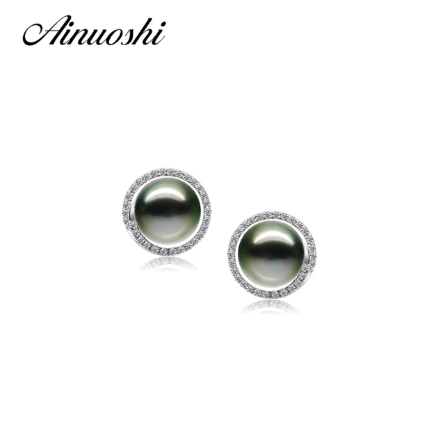 AINUOSHI 925 Sterling Silver Round Shaped Studs Earrings Natural South Sea Black Tahiti Pearl 9-9.5mm Round Pearl Studs Earrings